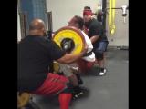 Дэн Грин приседает со штангой на груди 300 кг, с. в. около 110 кг! В наколенных бинтах