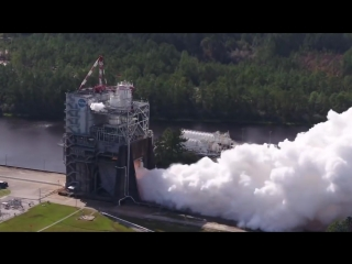 Space launch systems rs-25 flight engine test fired by nasa