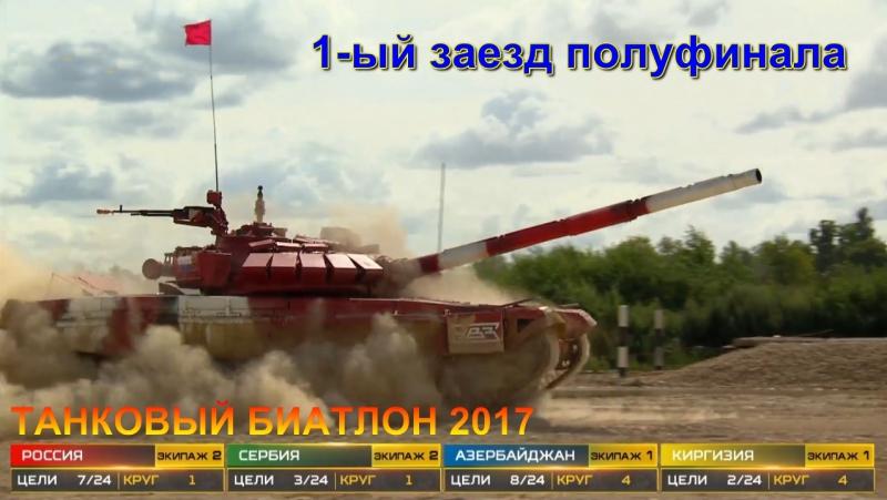 Танковый Биатлон 2017 1-ый заезд полуфинала - Азербайджан, Киргизия, Россия, Сербия
