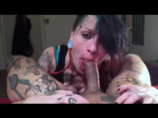 Tattooed pierced babe sucks + worships dick w kisses + swallows huge load | kat mayhem