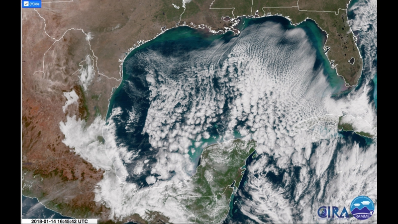 GOES-16 Gulf of Mexico 14-Jan-2018