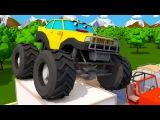 Мультики! Мультфильмы для детей - Монстр Трак и Гонки в Городке! 3D Видео для детей