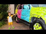 Learn Colors with Nursery Rhymes Songs Bad Baby Sticky note prank car Вредные детки пранк над мамой