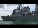 Американский ракетный эсминец John S. McCain совершил столкновение с нефтяным танкером Alnic MC из-за потери рулевого управления