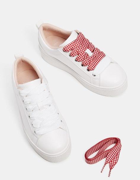 Кроссовки со шнурками в клетку виши