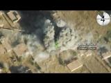 Уничтожение техники и боевиков ИГИЛ бомбовым авиаударом. Съемка с квадрокоптера.