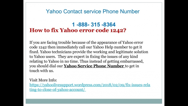 How to resolve any type of yahoo errors ?
