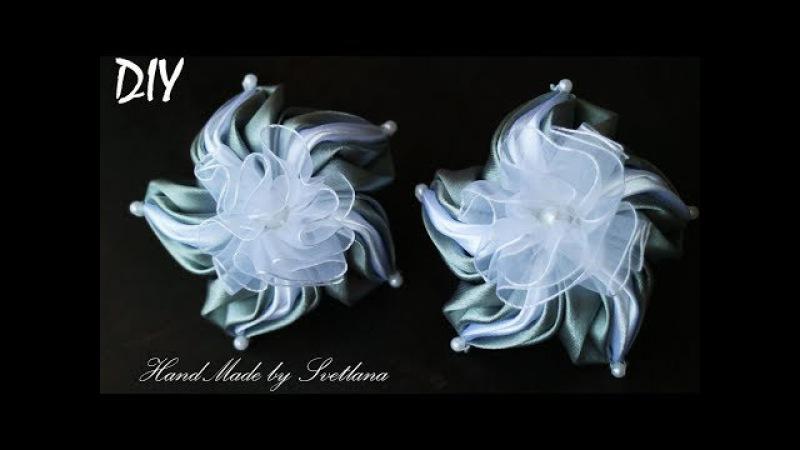Бантики цветы из лент КАНЗАШИ DIY Bows made of ribbon Kanzashi Laço de Cetim Curva da fita