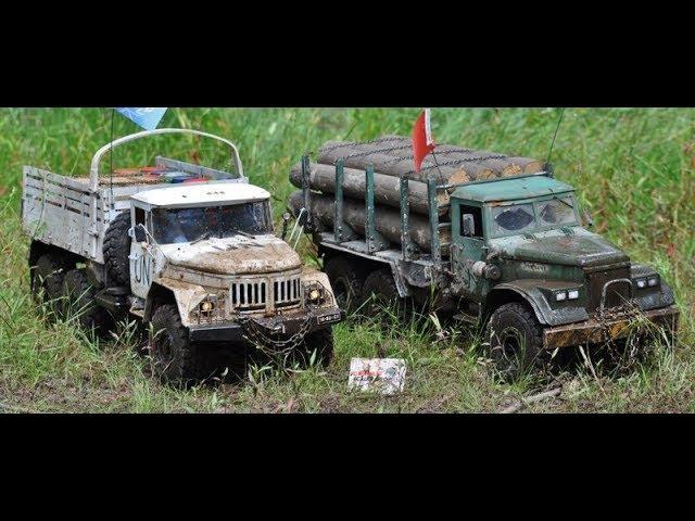 RC AXIAL SCX10 6x6 Kraz-255 logging truck and Zil-131 U.N. MUD FUN