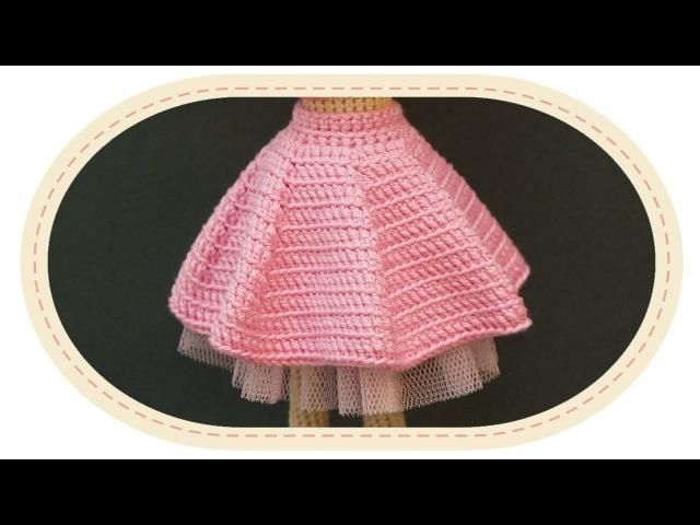 Двусторонняя юбка для куклы. Two sided crochet skirt for a doll.