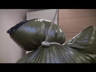 Parkasite big sleeping bag breath control hanging bondage