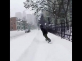 Snowboarding on streets of Montreal