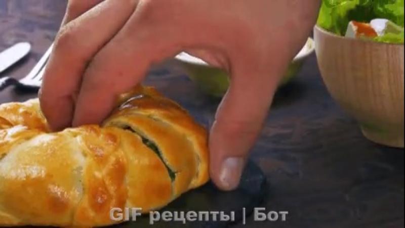 Пирог-косичка с картофелем и шпинатом.