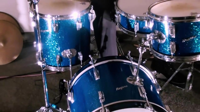 Steve Maxwell Vintage Drums - Rogers 20_12_14_5x14 Drum Set Blue Sparkle