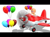 Funny Baby Doll BALLOONS HELICOPTER Flying Learning COLORS for Children - Educational Videos