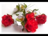 МК Как сделать цветочки из атласных лент для веночков и ободочков.