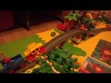 Тянет на мост - Маневровый поезд LEGO DUPLO красный тянет на мост
