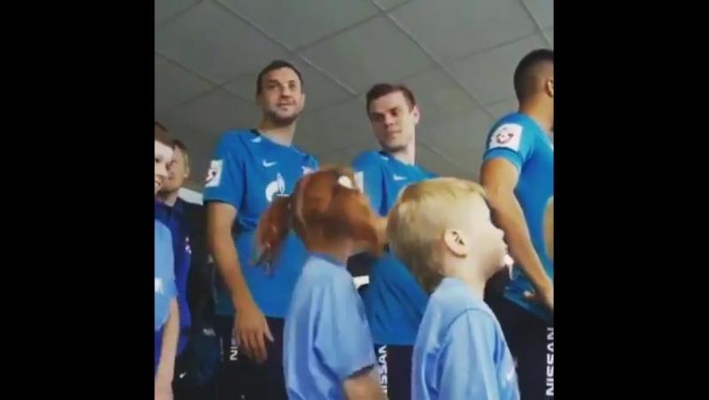 Артем Дзюба дернул девочку за косичку перед футбольным матчем