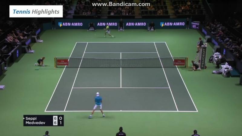Теннис. ATP. Роттердам. Хард Сеппи Андреас - Медведев Даниил 21 (76, 46, 63)