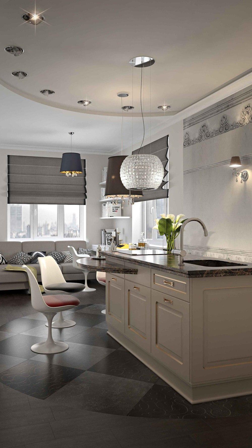 Концепт квартиры 32 м с островной кухней.