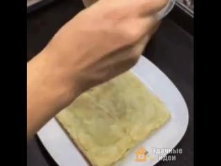 торт из слоеного теста быстрый