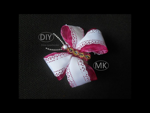 Бант-бабочка на резинку МК DIY Butterfly bow from ribbons PAP Borboleta - arco Tutorial