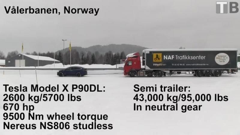 Кроссовер Tesla Model X взял на буксир многотонный грузовик