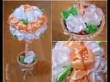 Топиарий из цветов канзаши.Очень красивые идеи