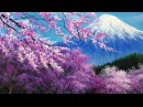 The cherry blossoms in the Mt. Fuji Acrylic Painting - FULL
