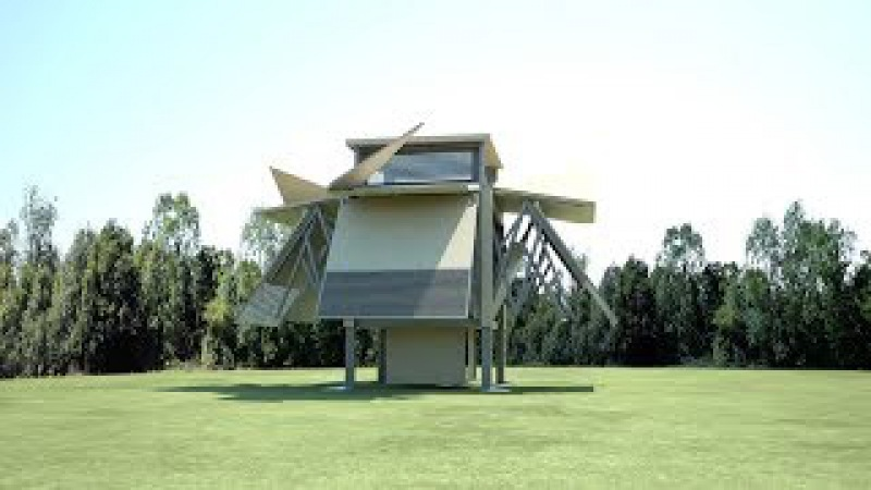 Prefab buildings by Ten Fold Engineering build themselves in eight minutes