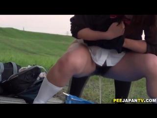 Japanese student girls pee uncensored, schoolgirl, pussy, public pee