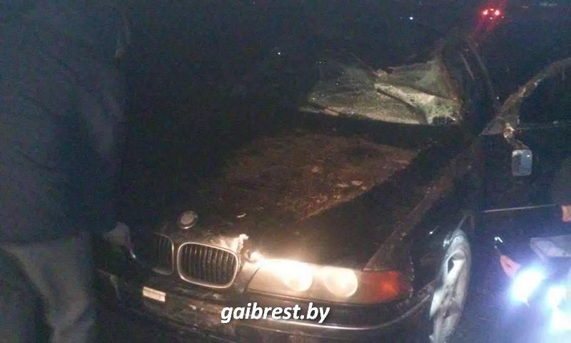 В Пружанском районе водитель на БМВ насмерть сбил велосипедиста, съехал в кювет и опрокинулся