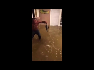 Houston man catches fish inside of home