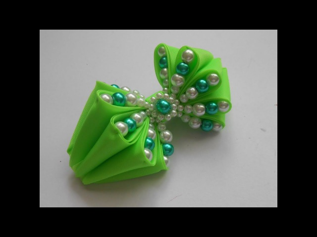 Бантик с бусинами МК/ DIY Bow with beads/ Tutorial. Curvar com contas.