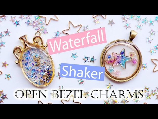 Kawaii UV Resin Tutorial Waterfall Shaker Open Bezel Charms 2 Different Techniques