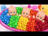 Learn Colors M&ampMs Triple Baby Doll Bath Time and Ice Cream Cups Surprise Toys