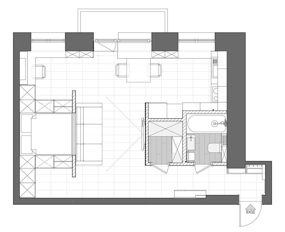 Концепт студии из двухкомнатной хрущевки 44 м.