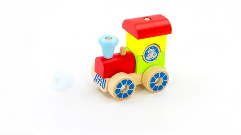 Конструктор каталка Паровозик развивающие игрушки Alatoys из тематического набора транспорт