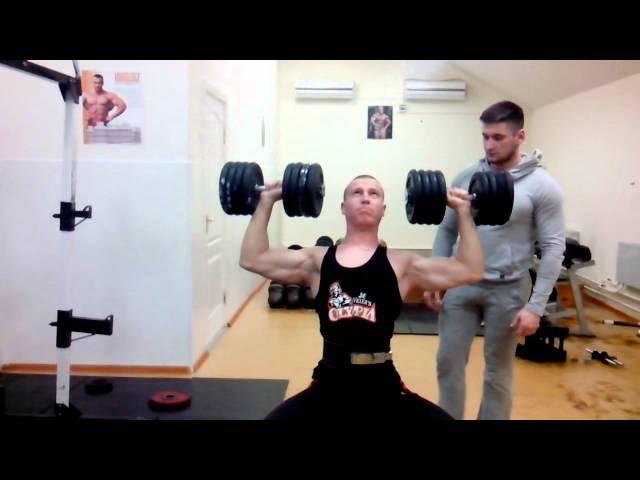 Жим гантелей сидя по 42 кг на 8 / Dumbbell bench press sitting at 42 kg 8