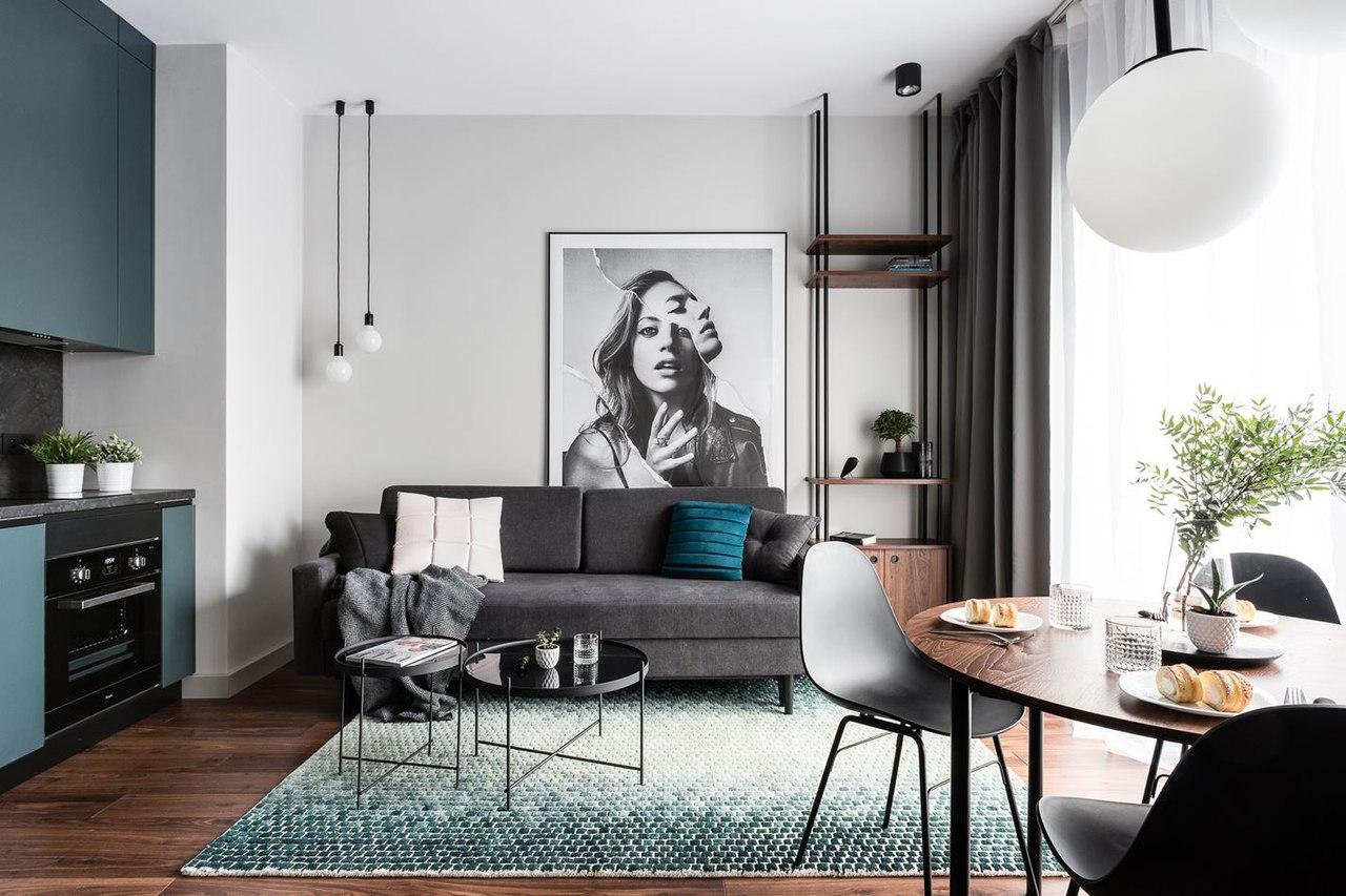 Небольшая современная квартира с отдельной спальней в Гданьске (38 кв.