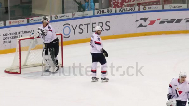 Stock-footage-moscow-russia-november-tired-j-pogge-drink-water-on-hockey-game-spartak-vs-slovan