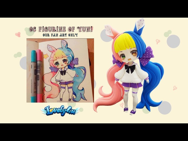 Lovely4u | VO5 | 8 Min double colored hair girl | DIY| Clay Tutorial | Yuniiho oc fan art