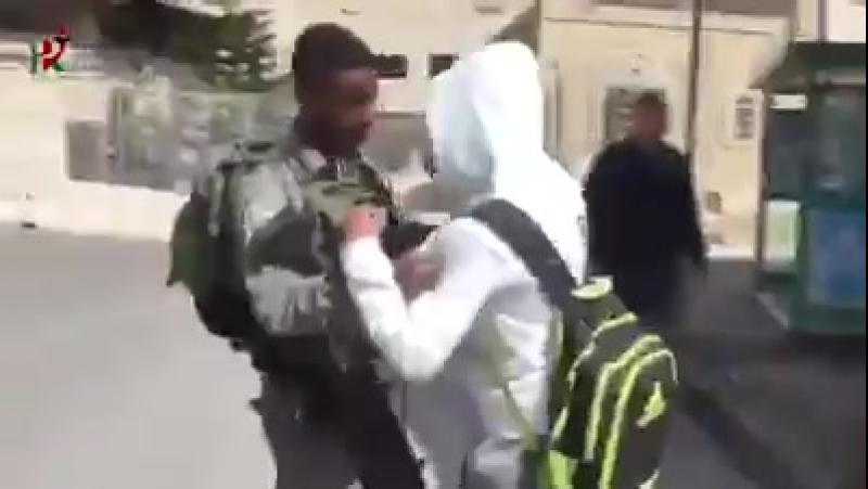 Al-Khalil ( Hébron ) Un écolier palestinien harcelé sur le chemin de lécole
