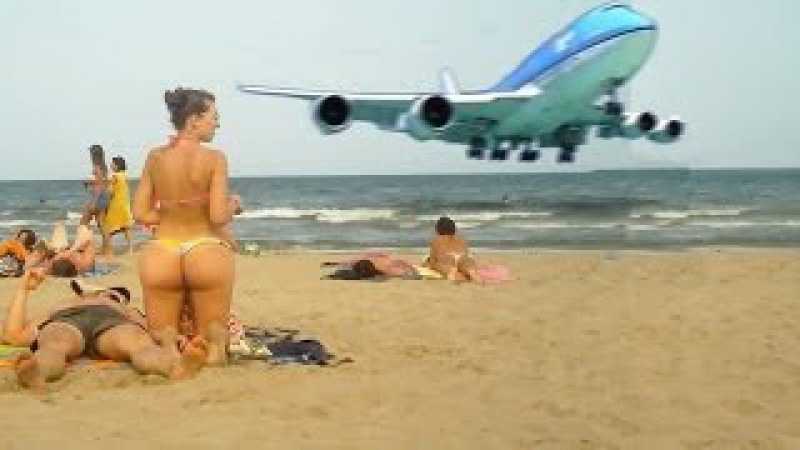 En Büyük Uçaklar Boeing 747 Plaja Sıfırdan İniş Yapıyor - MUTLAKA İZLE