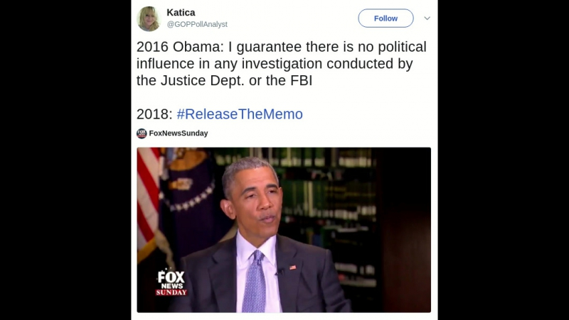 2016 Obama: I guarantee there is no political influence in any investigation conducted by the Justice Dept. or the FBI 2018: R