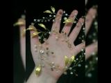 Жемчужно - золотистая нить с хрусталём и листьями