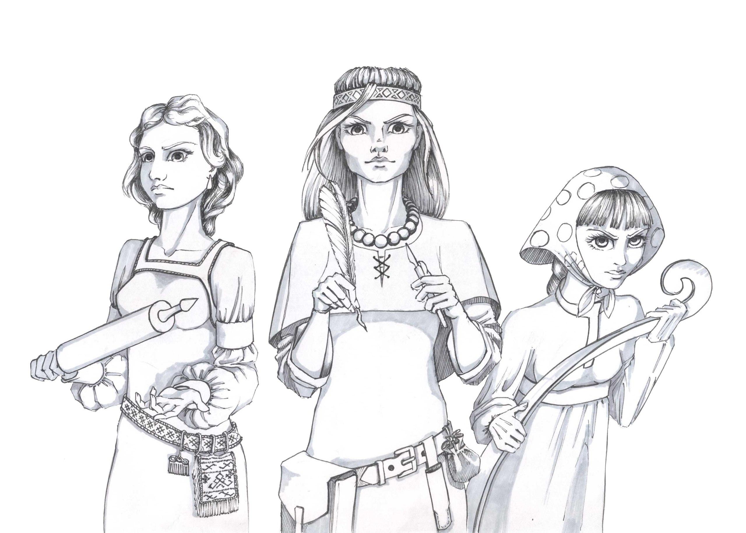 день картинки три богатыря и их жены карандашом подобрать идеальный