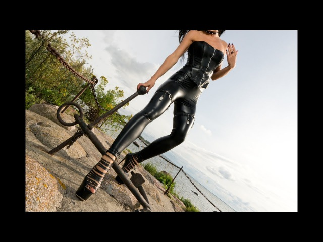 Brunette walking in black leggings and platform heels Tight garter belt straps video trailer