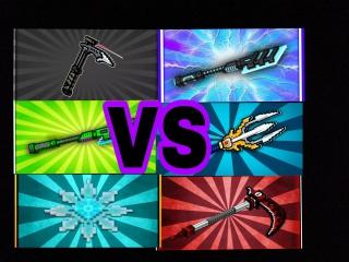 Пиксель ган 3д. Лазерное копье VS тактический томагавк VS адамантовое копье VS аниме коса VS трезубец ПоседонаVS острая снежинка