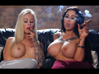 Chloe Lexus and Carley smoking big cigars topless